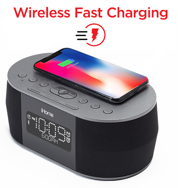 iHome iBTW38 Wireless Fast Charging for iPhone and Android devices.
