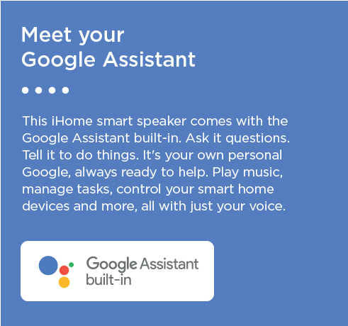iHome iGV1 Google Assistant Enabled Voice Activated Speaker