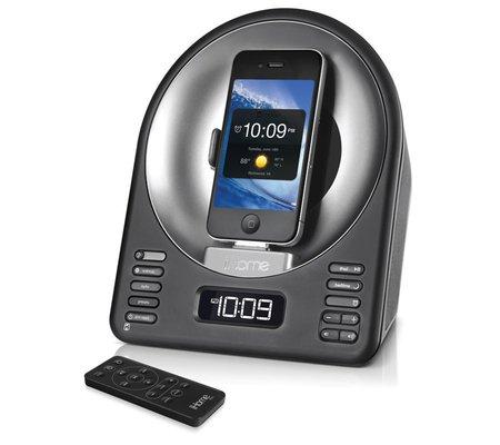 ihome ia63 app enhanced alarm clock fm radio stereo speaker system with motorized rotating dock. Black Bedroom Furniture Sets. Home Design Ideas