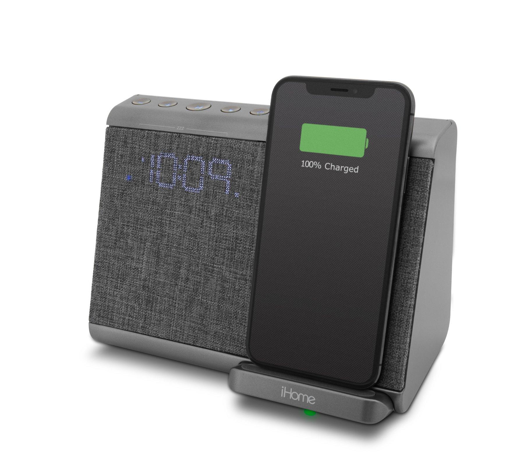 iHome wireless (Qi) charging Bluetooth alarm clock with USB