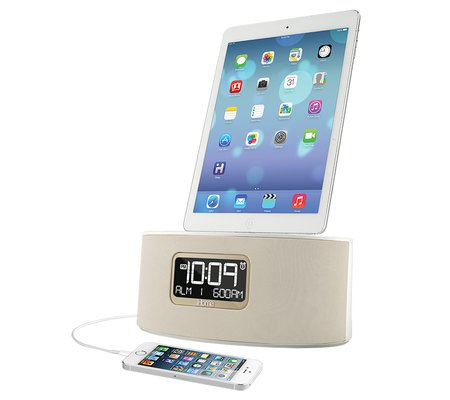 ihome idl46 dual charging stereo fm clock radio with lightning dock and usb charge play for ipad. Black Bedroom Furniture Sets. Home Design Ideas