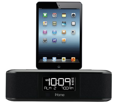 dual charging stereo fm clock radio with lightning dock and usb charge play for ebay. Black Bedroom Furniture Sets. Home Design Ideas