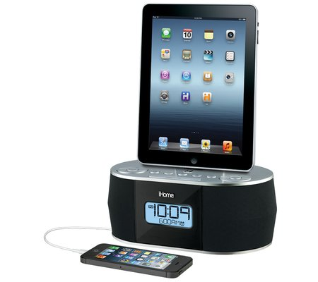 ihome idn38 dual charging stereo fm clock radio with usb charge play for your ipad iphone ipod. Black Bedroom Furniture Sets. Home Design Ideas