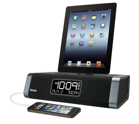 ihome idn45 dual charging stereo fm clock radio with usb charging for iphone ipod. Black Bedroom Furniture Sets. Home Design Ideas
