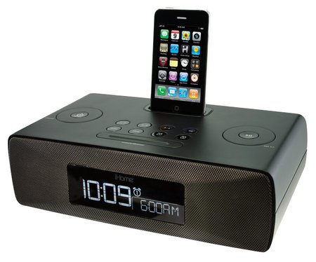 Ihome Black Lightning Alarm Clock And Iphone Docking Station